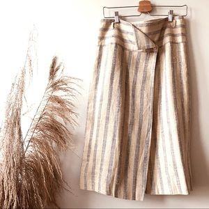 MIDI Length Faux Wrap Stripped Linen Skirt